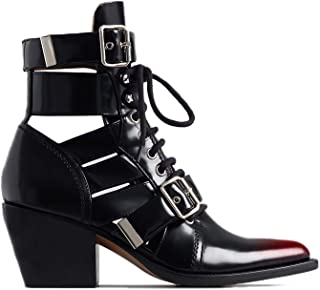 Western Cutout Ankle Boots Buckle Strap for Women, Cowboy Short Booties Chelsea Leather Lace up Pointed Toe Unisex 4-16 M US