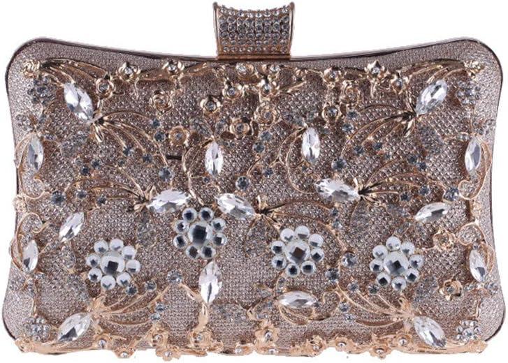 Huangjiahao-Bag Soirée Pochette Femmes Noble Cristal Sac De Soirée Mariage Clutch Purse Sac De Rangement Cosmétique Titulaire de Mariage de Bal d'étudiants (Color : Silver) Gold