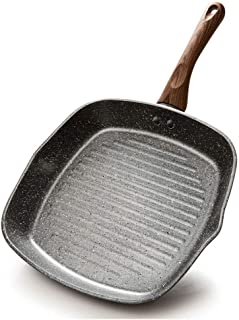 26cm |Sartén Premium De Aluminio Fundido |Sartén Antiadherente | Sartén De Fondo Plano |con mango de baquelita | for cocinas a gas, de inducción y eléctricas AAA~