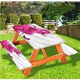 LEWIS FRANKLIN - Cortina de ducha para mesa de picnic y bancos, color pastel con borde elástico, 28 x 172 pulgadas, juego de 3 piezas para viajes, Navidad, picnic, fiestas al aire libre