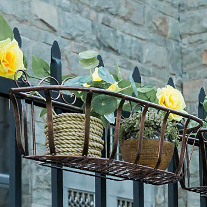 Envío rápido y el mejor servicio Soporte de flores Arte en hierro Estilo europeo Valla barandilla barandilla barandilla Soporte de flores colgante Tres tamaos Bronce (Tamao   60  19  18cm)  oferta especial