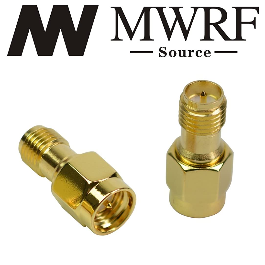 MWRF Source 2PCs coaxial Coax Adapter SMA Male to RP-SMA Female (with Center Pin); Wi-Fi Antenna/Signal Booster/Repeaters/Radio/Extension Cable/FPV Drone 2pack