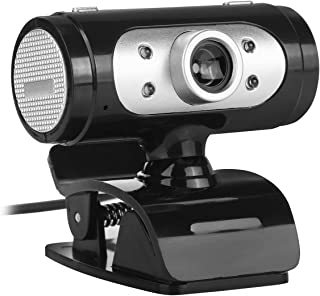 720P HD Web Camera,USB Rotated Clip-on Computer Camera with Noise Reduction Mic LED Light for Shooting, Video Teaching