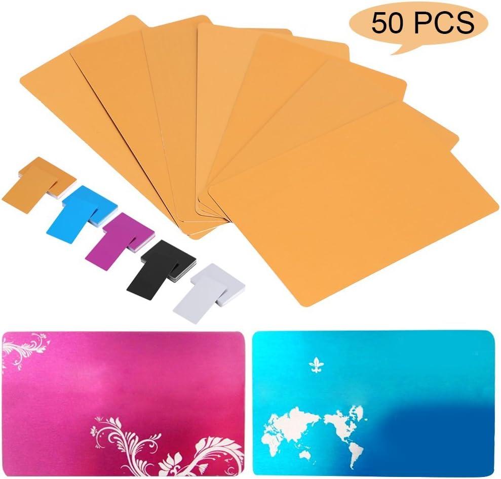 Cafopgrill 50 St/ücke Metall Visitenkarten Rohlinge f/ür Kunden Lasergravur DIY Geschenkkarten 5 Farben Optional Blau