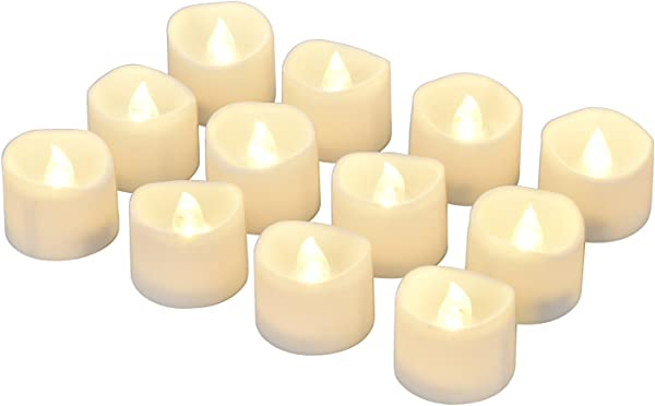 ELander LED Tea Lights Flameless Candle With Timer 6 Hours On And 18 Hours Off 1 4 X 1 3 Inch Warm White 12 Pack
