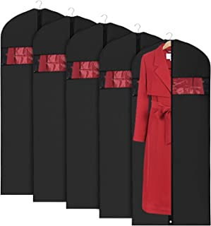 """Univivi Garment Bag Suit Bag for Storage and Travel 43 inch, Anti-Moth Protector, Washable Suit Cover for T-Shirt, Jacket, Suits, Coats, Set of 5, Black, 24""""X60"""""""
