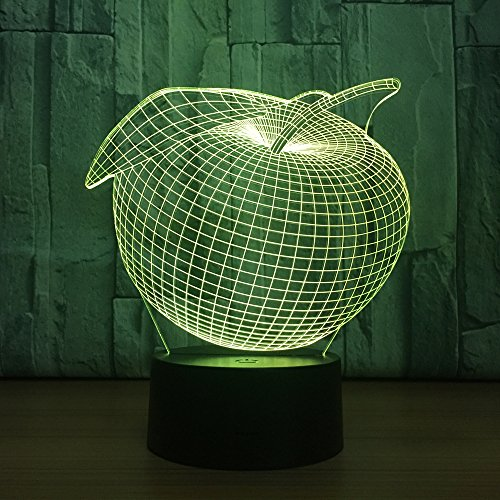 Kids Night Light, Creative Apple Fruit LED Night Light 3D Optical Illusion Lamp Bedside Table Lamp, Kids Birthday Gifts Toys Christmas Decorations, 16 Color Change Remote Control USB Desk Lamp
