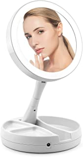 QIYUE Double-sided LED Lighting Makeup Mirror 1x10X Magnifier Home Travel Folding Countertop Mirror White