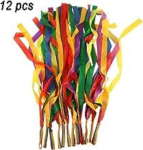 TOPTIK 12 PCS Rainbow Ribbon Set for Kids,Rhythm Ribbon Dance