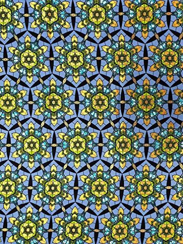 Tela de algodón inspirada en la moda africana con detalles dorados metálicos, tamaño: paquete de 6 yardas de largo (5.5 m x 1.2 m) – tela Ankara – azul y dorado
