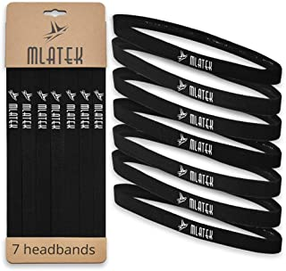 Elastic Sports Headbands - 7 Pack Thin Skinny Bands for Women and Men - Mini Head Bands with Non Slip Silicone Grip - Head...