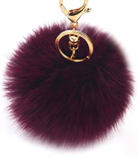 e04f8bcd35df Dikoaina Faux Fox Fur Pom Pom Keychain Bag Purse Charm Gold Ring Fluffy Fur  Ball