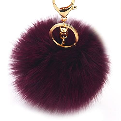 cdf27fbadcc8 Dikoaina Faux Fox Fur Pom Pom Keychain Bag Purse Charm Gold Ring Fluffy Fur  Ball