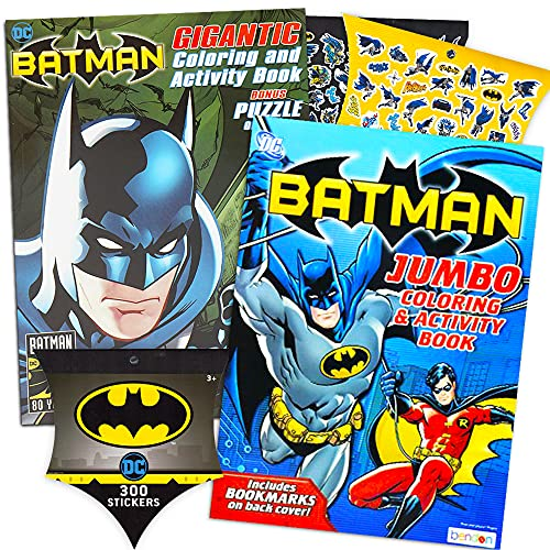 DC Comics BATMAN Coloring & Activity Book Set with Stickers (2 Coloring Books, Over 300 Pages Total)