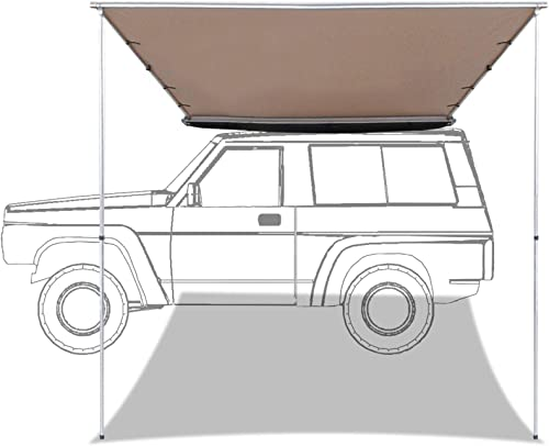 discount labworkauto Side Awning online Retractable SUV Rooftop Side Tent Shelter Waterproof UV Protective Fit for discount Outdoor Camping Travel 7.6ft x 8.2ft online sale