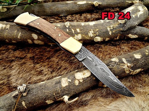 Damascus Steel Blade Back Lever Lock Folding Knife, Natural Wood Scale with Brass Bolster, Leather Sheath Included
