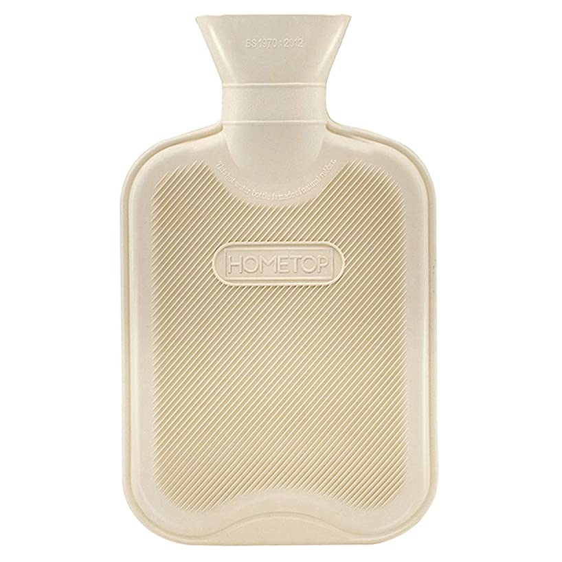 HomeTop Premium Classic Rubber Hot Water Bottle, Great for Pain Relief, Hot and Cold Therapy (1L, Beige)