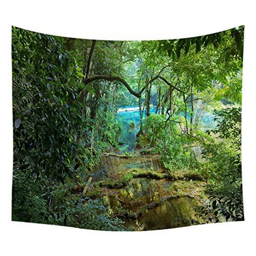 Xmiral Tapestries Picknickdecke Strandtücher 150cm X 200cm Wald Wandtuch Yogamatte(C)