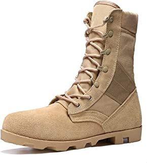 Jason.Martins Men Military Combat Boots for Men Outdoor Hiking Boot Lace up Genuine Leather Round Toe Split Joint Stitching Lug Sole Fleece Inside Men Boots Men
