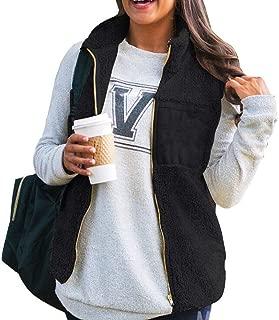 UUYUK Women Winter Thick Furry Sherpa Stand Collar Zipper Gilet Vest Jacket