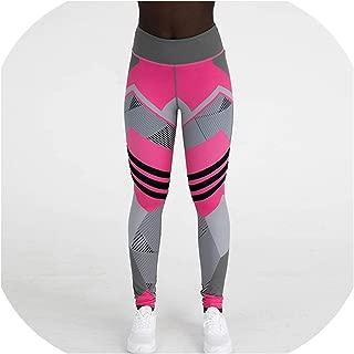 Printing Women Sport Pant Geometric Polyester High Waist Push Up Ankle Length Pants Breathable Slim Fit Leggings