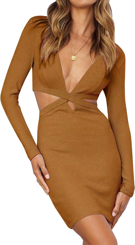 Frolitre Women's Side Cut Out Sexy Bodycon Deep V Neck Long Sleeve Club Mini Dress