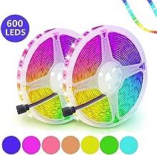 LED Strip Lights, CCJK 32.8ft 10M RGB 5050 LED Tape Lights 600 Unit SMD Color Changing Flexible IP65 Waterproof Rope Lights with 44 Keys IR Remote Controller & 12V 5A Power Supply