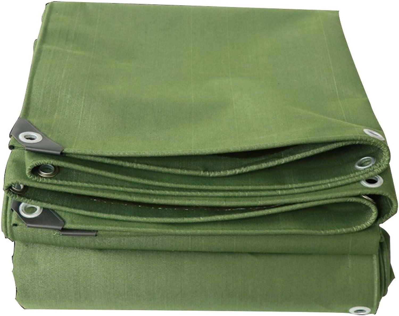 LQQGXL Thick Canvas Tarpaulin, Rainproof Sun Predection Van shed Cloth, Outdoor Sunshade dustproof Windproof Army Green Waterproof Tarpaulin