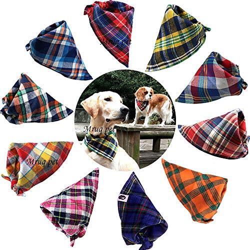 TAOBABY Hunde-Halstuch, waschbar, dreieckig, kariert, verstellbar, 8 Stück