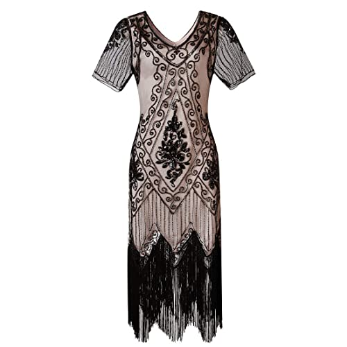 dad9e57149d Gatsby 1920s Flapper Dress Women Vintage Sequin Fringe Beaded Art Deco  Fancy Dress with Sleeve for
