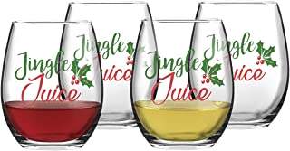 Jingle Juice Christmas Stemless Wine Glass Gift for Women Friends, 15 Oz Funny Stemless Wine Glasses Set for Red and White Wine, Gift Idea for Christmas Wedding Birthday Party Present, Set of 4