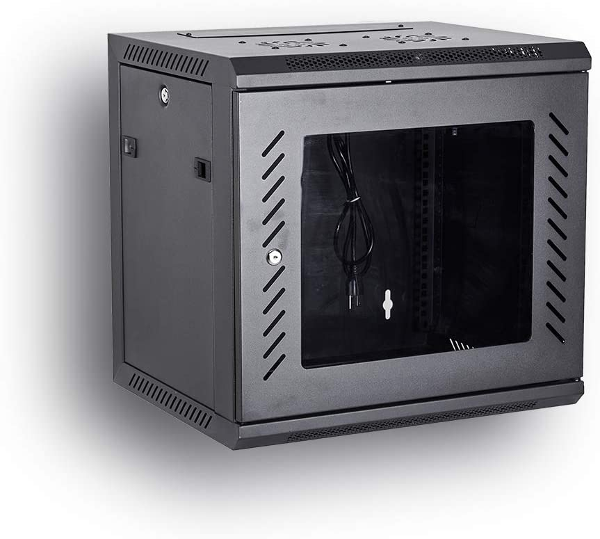 [Fully Assembled] KENUCO Deluxe IT Wall Mount Cabinet | Server Rack | Data Network Enclosure 19-Inch Server Network Rack with Locking Tempered Glass Door (Black 09U)