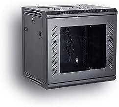 KENUCO 9U Wall Mount Rack Server Cabinet Data Network Enclosure 19-Inch Server Network Rack with Locking Glass Door 16-Inches Deep (Black 9U)