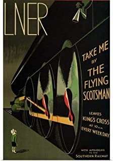 GREATBIGCANVAS Poster Print Flying Scotsman - Vintage Train Advertisement by Vintage Apple Collection 24