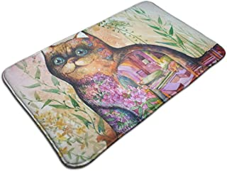NINAINAI Entrance Door Mat Cat Pattern Non Slip Rubber Back Low Profile for Garage, Patio, High Traffic Area, Large 19.5 x 31.5 Inch