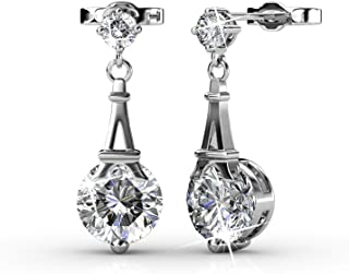 Cate & Chloe Isla Ethereal Gold Stud Earrings with Dangling Swarovski Crystals, Best Paris Eiffel Tower Earrings for Women, Round Swarovski Crystals