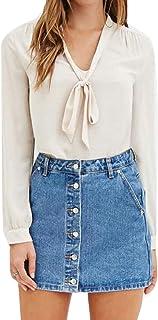 GRMO Womens Chiffon V-Neck Lace Up Long Sleeve Plus Size Top T-Shirt Blouse