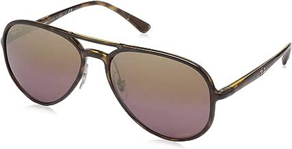 RAY-BAN RB4320CH Chromance Mirrored Aviator Sunglasses, Light Tortoise/Polarized Purple Mirror, 58 mm