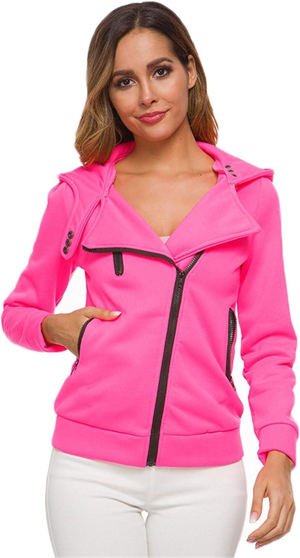 Andongnywell Women Oblique Zip Hoodies Jacket Oblique Zipper Long Sleeve Hooded Jacket Coat Overcoats