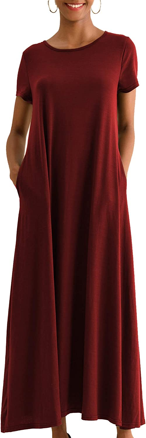 GZDMFS Womens Casual Loose Short Sleeve Summer Maxi Dress with Pockets