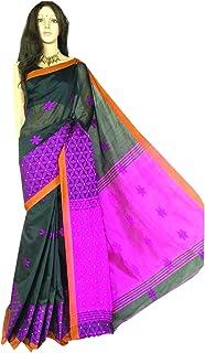 Black ndian Cotton Silk Handloom Sari With Bllouse Piece Flower work at border Festive Party Wear Bengali Fashion 919