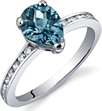 London Blue Topaz Ring Sterling Silver Rhodium Nickel Finish Pear Shape 1.25 Carats Sizes 5 to 9
