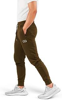 Athletics Pantalones de chándal para Hombre (Crucero) Pantalones Deportivos Deportivos para Correr para Hombre con Bolsillos con Cremallera (Verde Oliva) (Grande) (CA1003-LO)