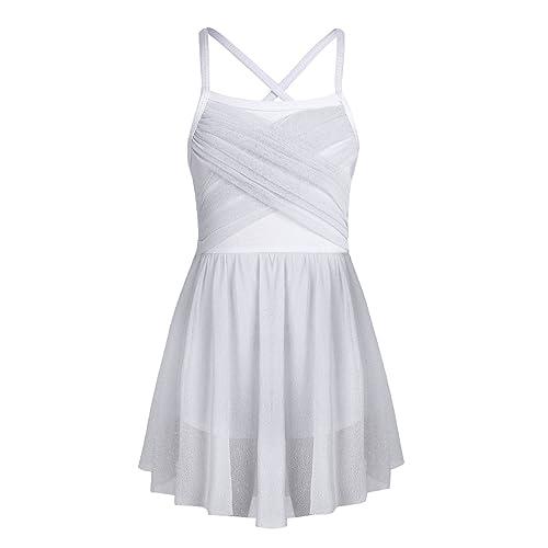 22c49e004f315 YiZYiF Girls' Glittery Mesh Overlay Lyrical Dance Dress Stage Ballet  Ballroom Dancing Costumes