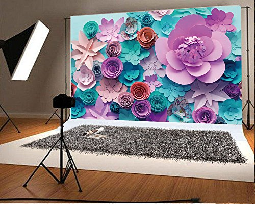 YongFoto 5x3ft 3D Paper Flower Backdrop Floral Trendy Abstract DIY Background Backdrops Photography Party Wedding Lovers Birthday Kids Photo Shoots Personal Portrait Photo Background Studio Props