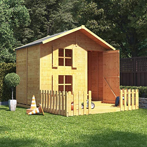 BillyOh 6x7 Peardrop Extra Wooden Outdoor Garden Playhouse, Tongue and Groove Childrens Wooden Playhouse Kids Garden Play House (6x7 with platform and bunk and fence)