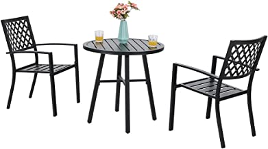 PHI VILLA Patio Metal 3 Piece Bistro Chairs and Table Furniture Set - Black