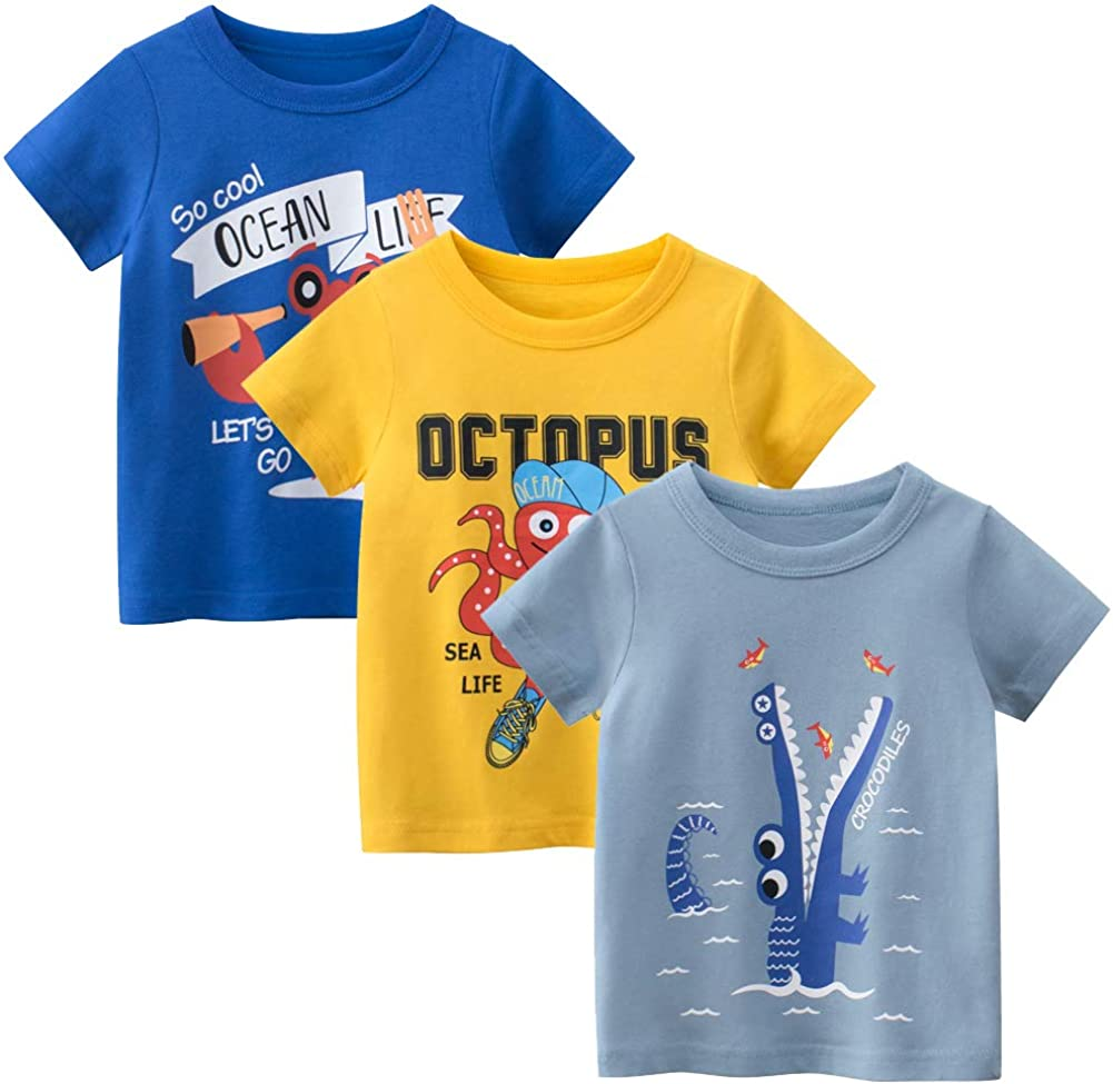 Whteian Baby T-Shirt Toddler Boys Tees Short Sleeve Infant Baby Boys Kids Cotton Shirt Undershirt 12 Months - 6T 3Pack