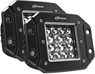SS VISION 2Pcs 6.7 Inch 40W 3600LM Flood CREE LED Work Light Bar Off Road Backup Reverse Lights for Jeep ATV UTV SUV Bumper Truck Boat Flush Mount LED Pods