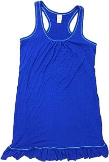 Bay & Willow Womens Vivid Blue Tank Top Nightgown Ruffled Sleep Shirt